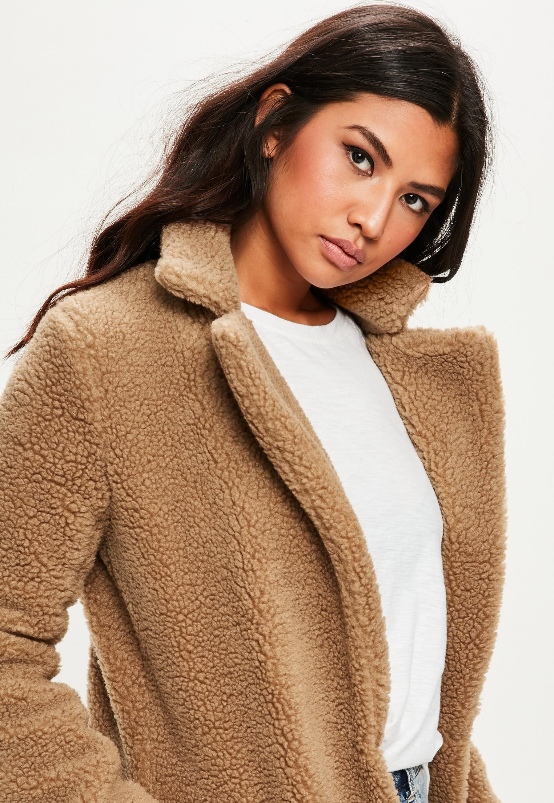 discount coupon utterly stylish hot-selling authentic Tan Borg Teddy Coat | Missguided | Teddy coat, Coats for ...