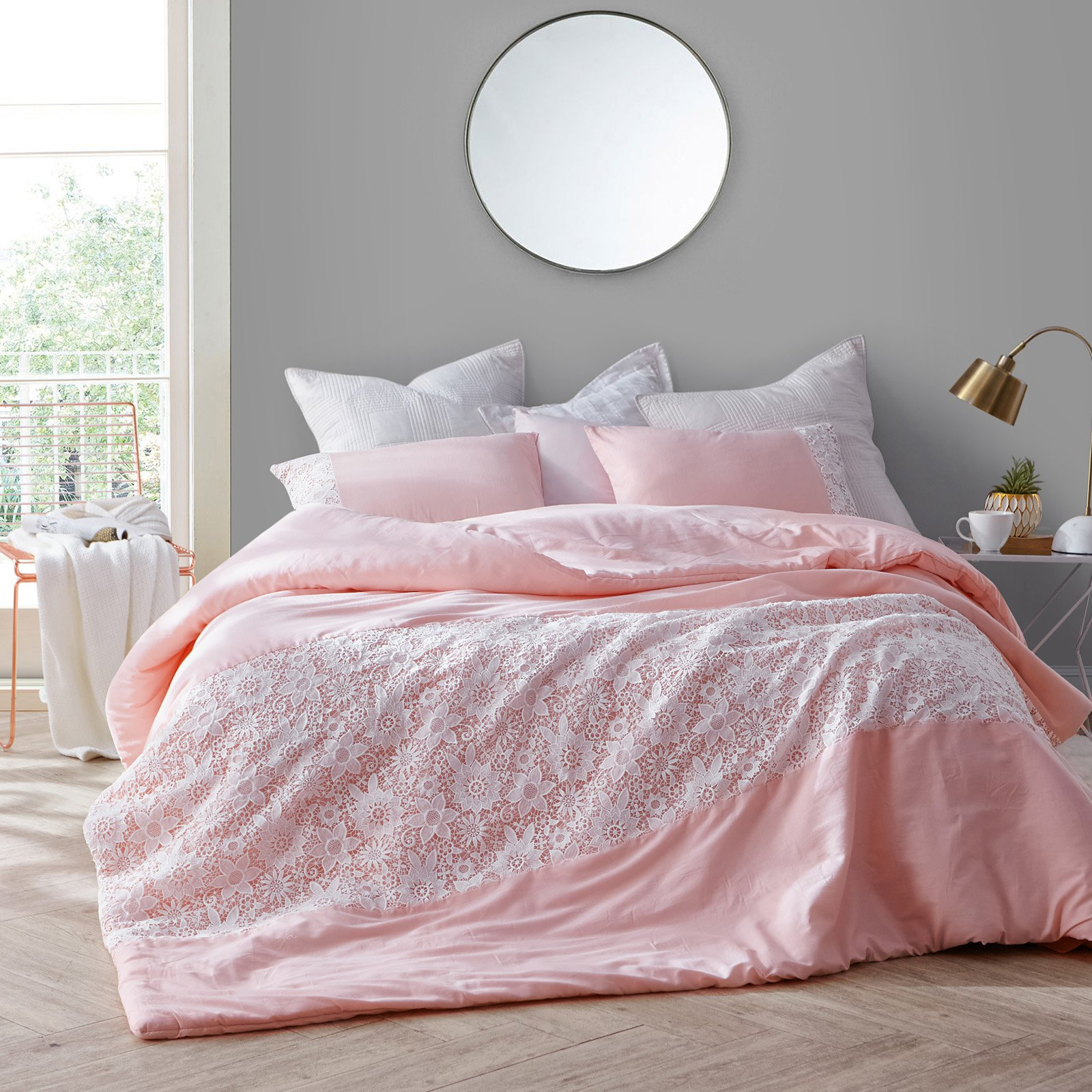 White Lace Duvet Cover By Byourbed Rose Quartz Size King Lace