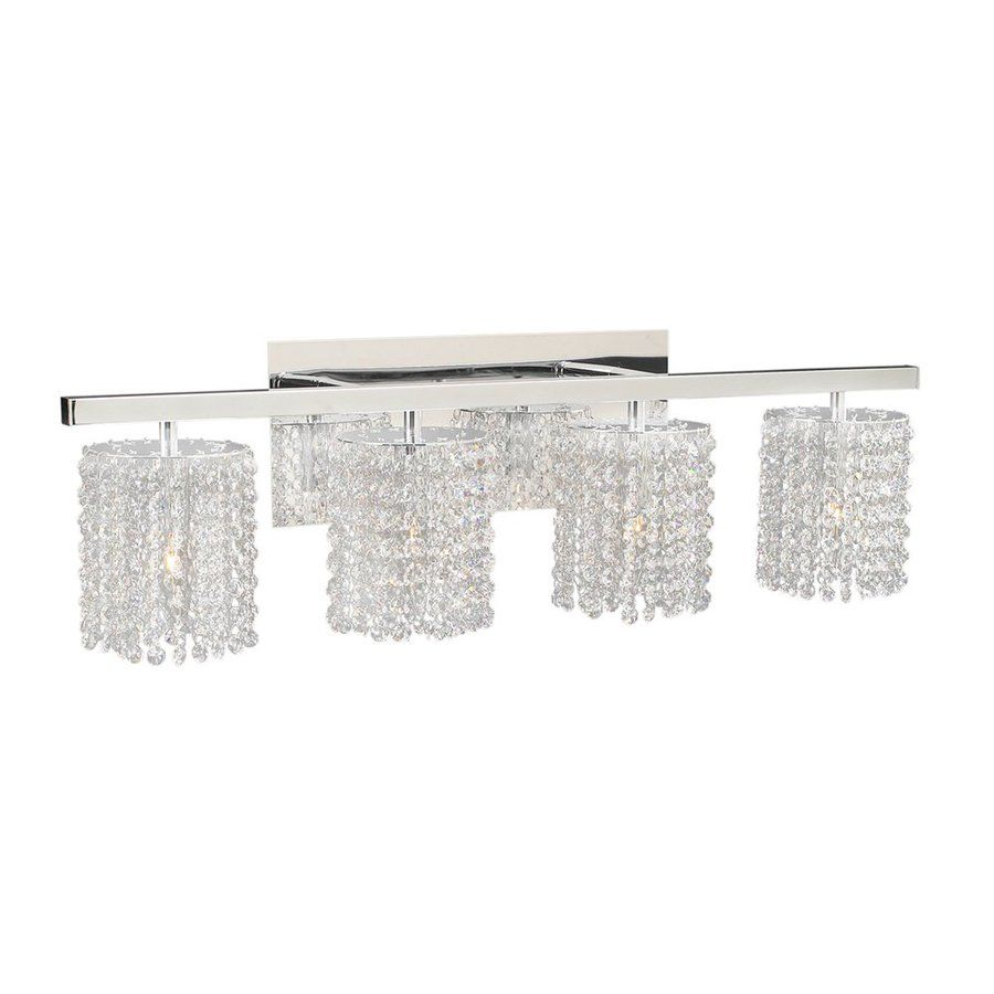 PLC Lighting 4 Light Rigga Polished Chrome Crystal Standard Bathroom Vanity  Light 72196 PC