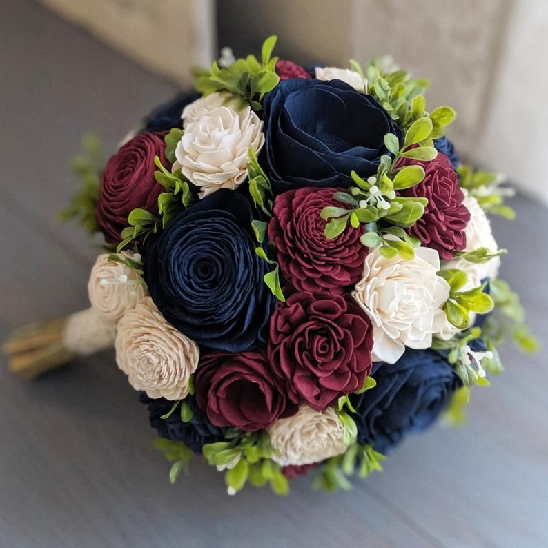 Burgundy Navy and Ivory Sola Wood Flower Bouquet with | Etsy