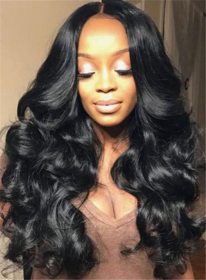 Attractive midpart long wavy lace front synthetic hair