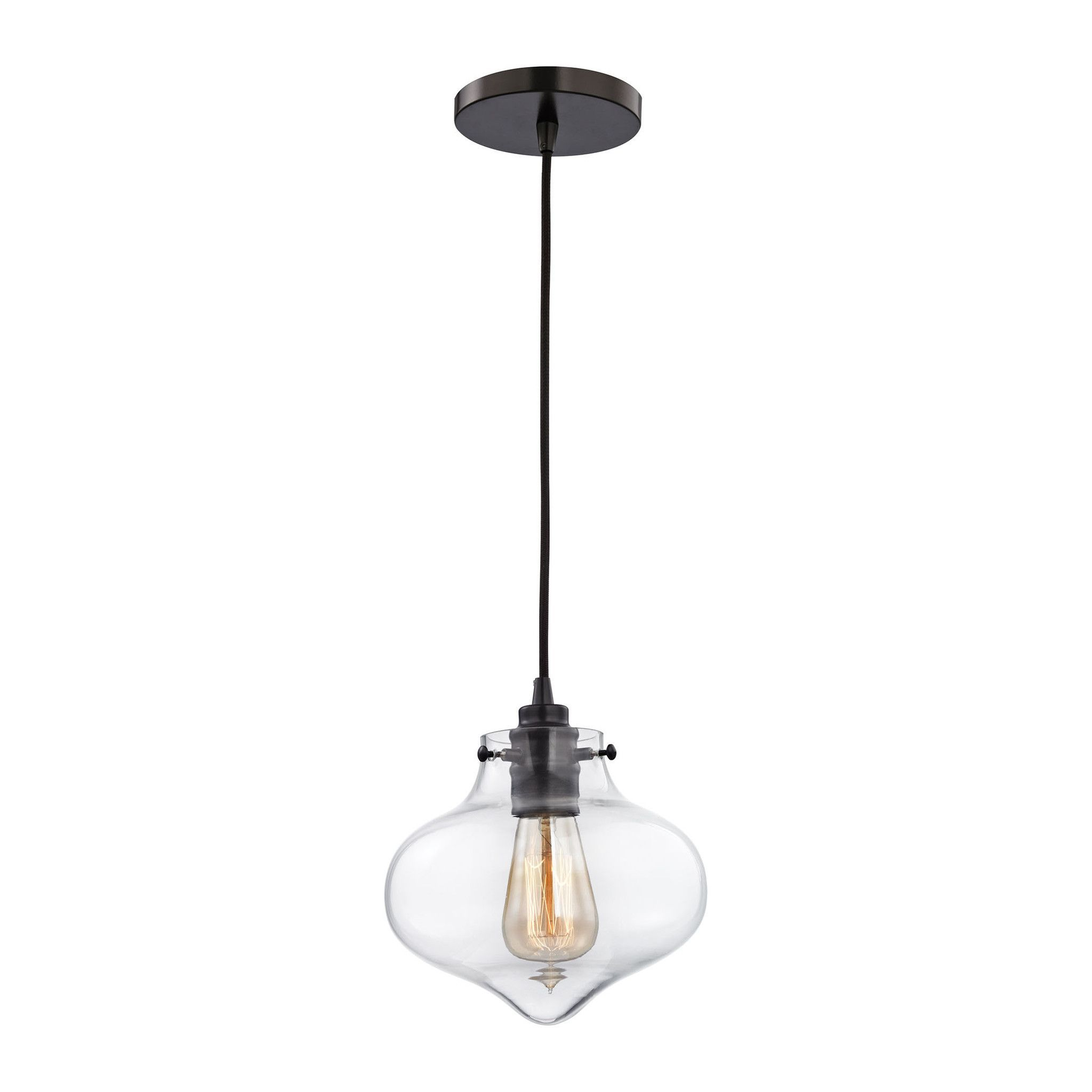 Kelsey 1 Light Pendant In Oil Rubbed Bronze And Clear