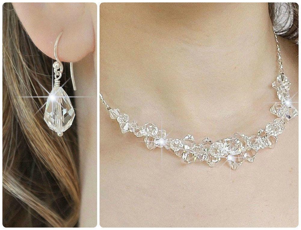 Crystal Bridal Jewelry SET Swarovski Wedding By Somethingjeweled