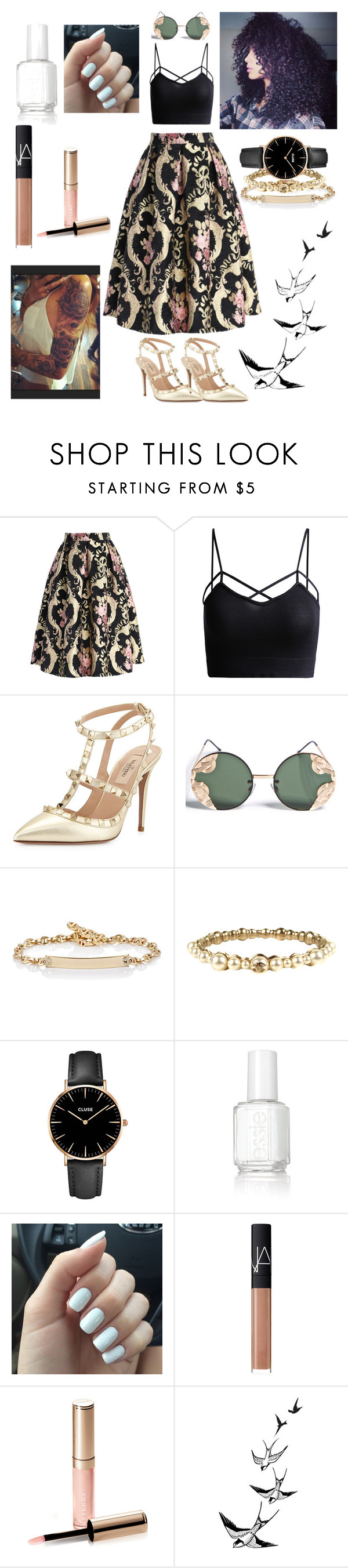 """Good Morning:)"" by emeraldw ❤ liked on Polyvore featuring Chicwish, Valentino, Spitfire, Hoorsenbuhs, Chanel, CLUSE, Essie, NARS Cosmetics and By Terry"