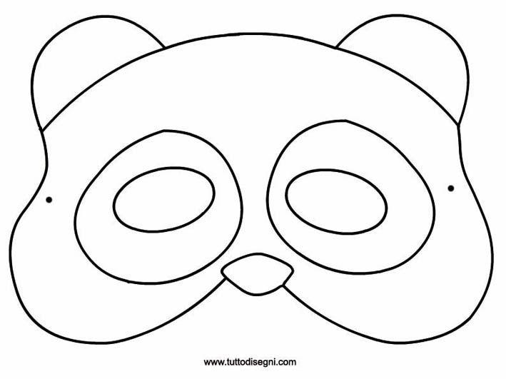 Maschera panda da colorare circo carnival diy mask e for Maschere di animali di carnevale da colorare
