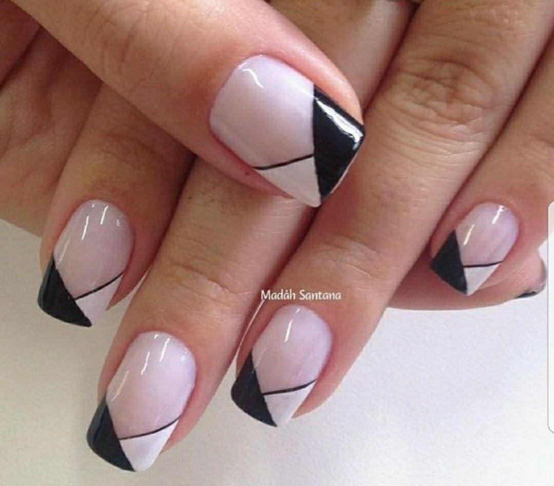 Nails, nail design, fancy french, manicure, black and white | Nails ...