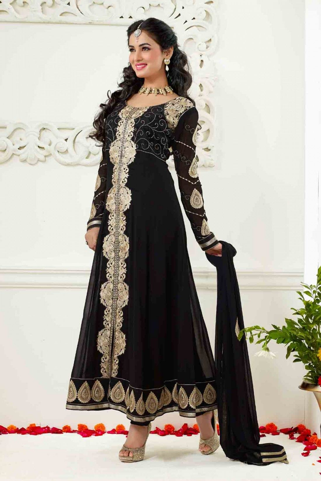 Sonal Chauhan - Black Faux Georgette Anarkali Suit with Embroidered and Lace Work - Z1784P9011-2