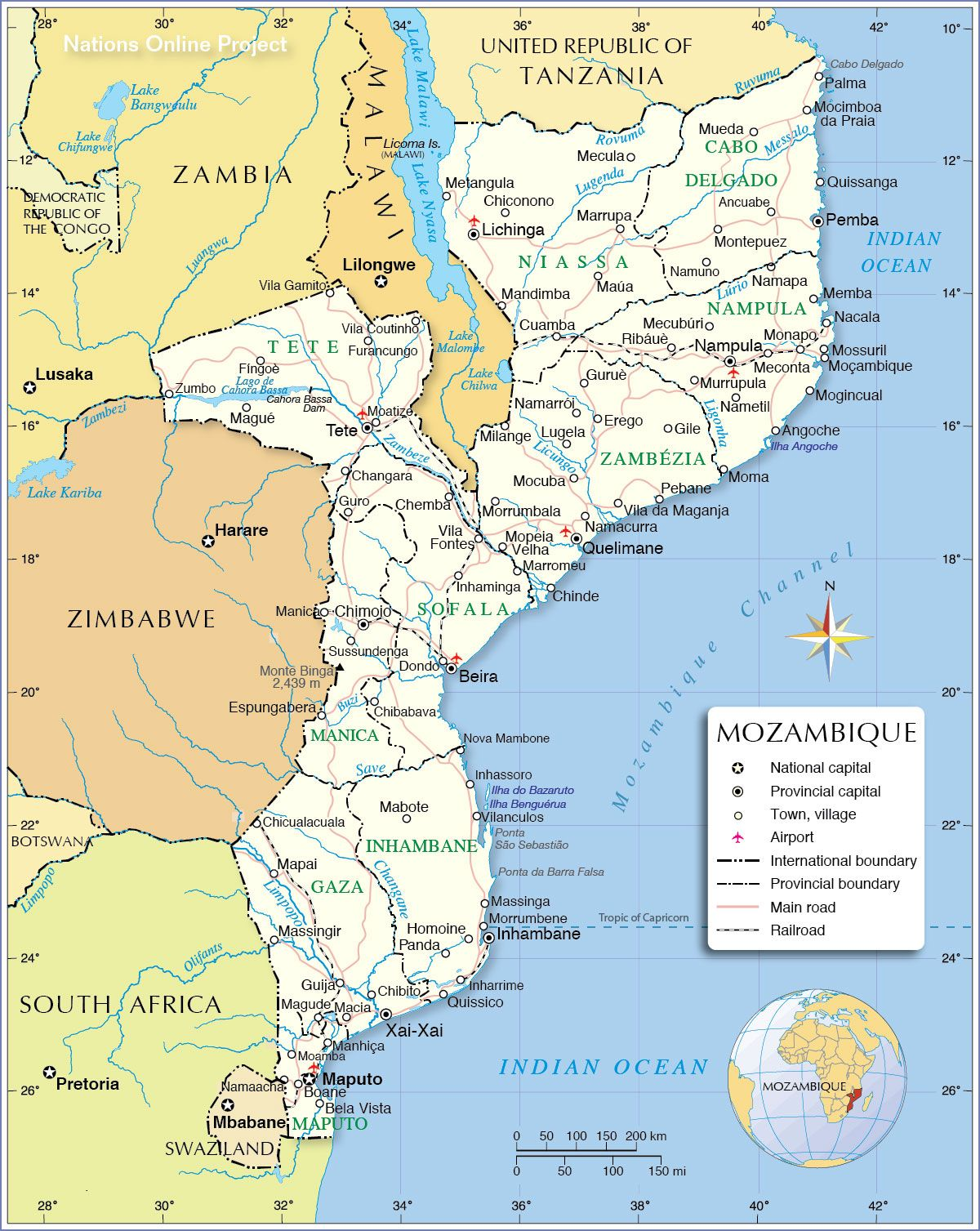 map of mozambique and south africa Map Of Mozambique Mozambique Political Map Map map of mozambique and south africa
