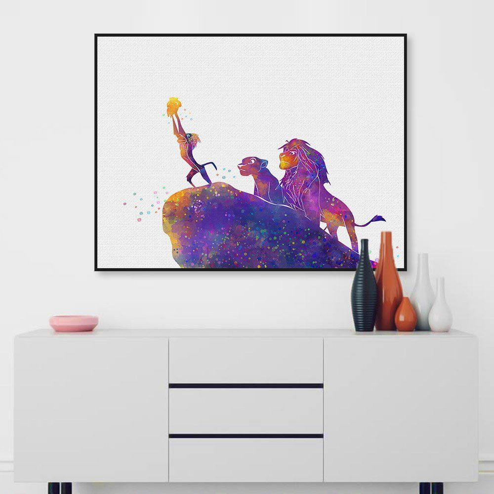 Watercolor Cartoon Pop Movie Animals Lion King Canvas A4 Art Print ...
