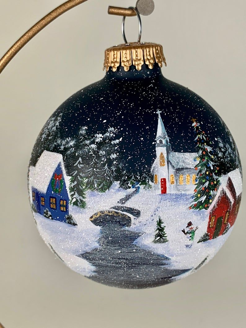 Christmas Winter Village W Church Hand Painted Glass Etsy Painted Christmas Ornaments Christmas Vases Christmas Ornaments