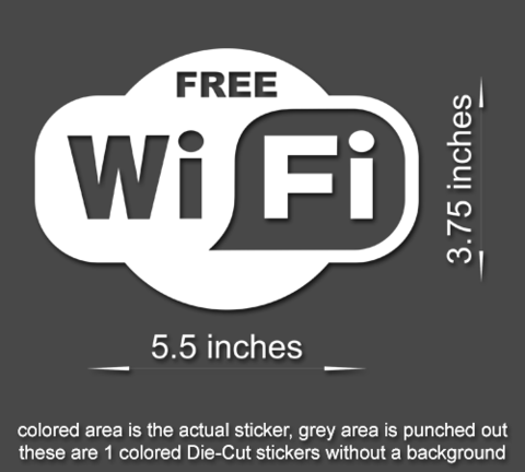 Free wi fi sign vinyl sticker business office window door decal 60504
