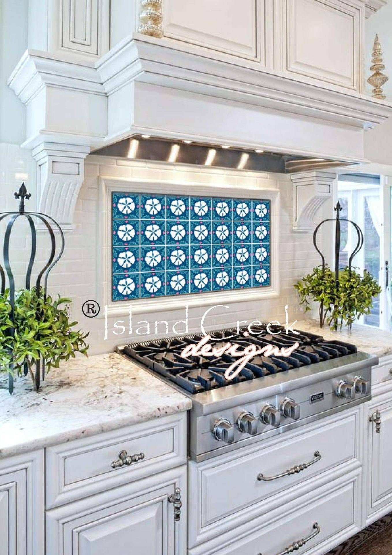 sand dollar tile design, sand dollar backsplash, nautical backsplash ...