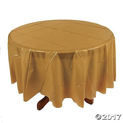 Superbe Gold Round Plastic Tablecloth