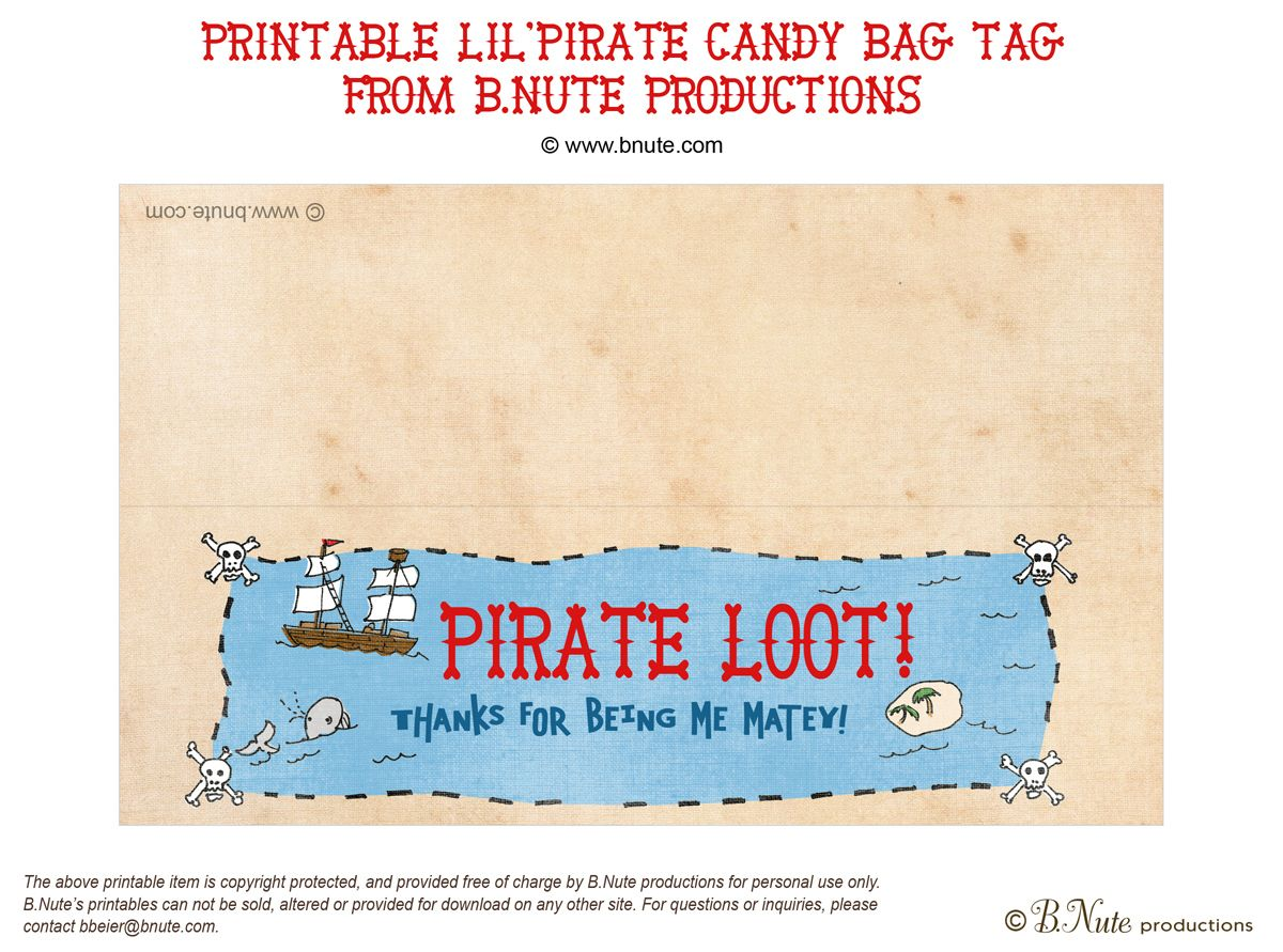 Goody bag printable tag for pirate themed party | Birthday Ideas ...