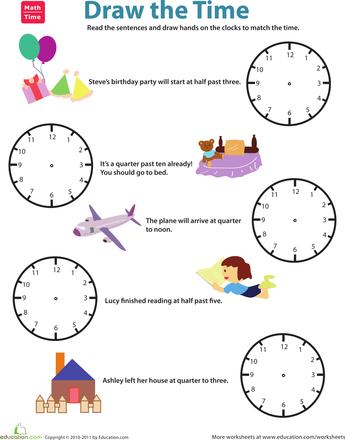 quarter till vs quarter past draw the time worksheets telling time and math. Black Bedroom Furniture Sets. Home Design Ideas