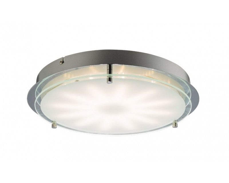 Endon 61710 is a flush led ceiling fitting finished in chrome and clear glass with a white print to create an interesting light effect