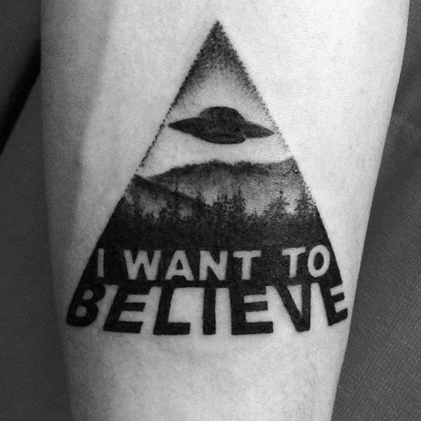 Cool Male I Want To Believe Tattoo Designs