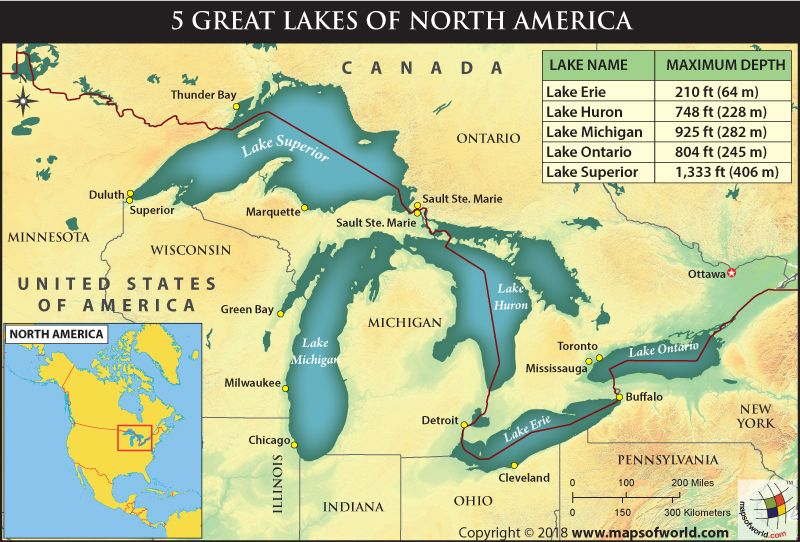 How deep are the 5 Great Lakes of North America | North ...