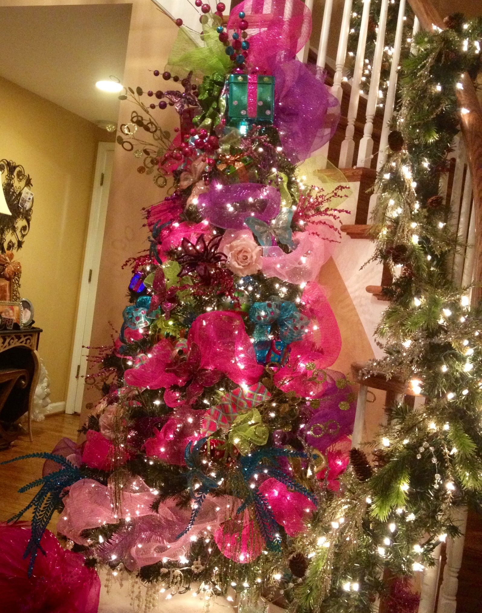 Pretty N Pink Christmas Tree With Bright Blue Dragonflies, Pink  Butterflies, Pale Pink With