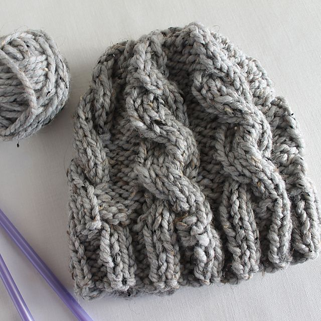 b3df42df59c This chunky cable knit hat is really easy to make and because it s knit  with super chunky yarn it s really fast to make too. These hats make great  gifts for ...