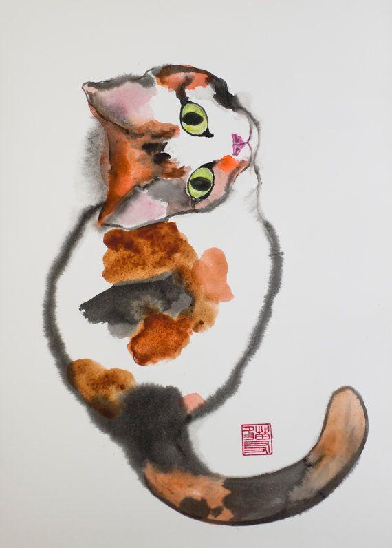 Chaton Aquarelle Originale Sur Papier Chats Illustrations 2