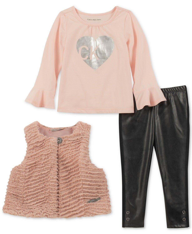631608cb4 Details about Calvin Klein Baby Girls 3-Pc. Faux Fur Vest