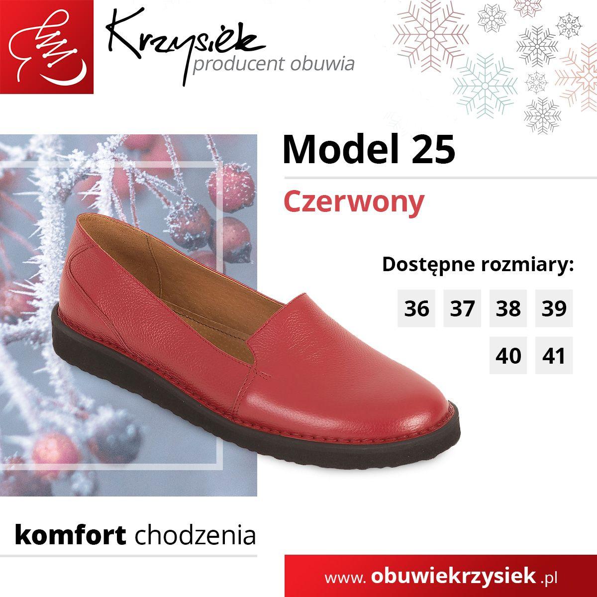 Polbuty Damskie Model 25 Czerwone Loafers Shoes Fashion