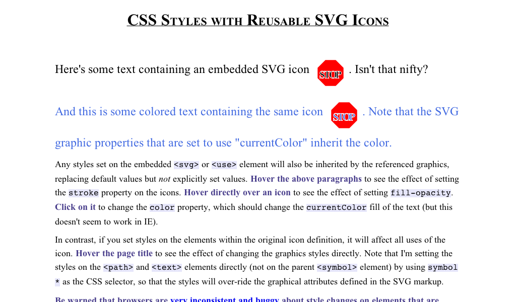 CSS Styles with Reusable SVG Icons Css style, Some text