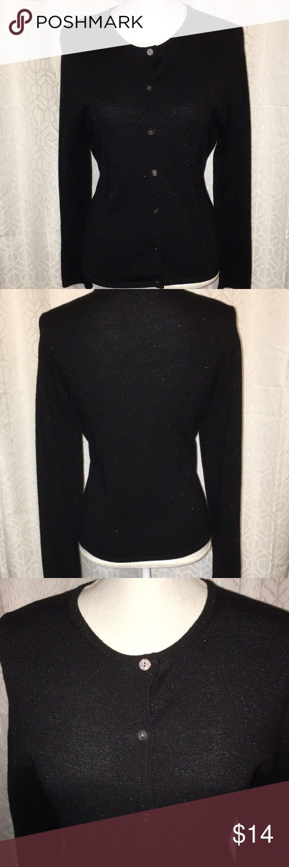 NWOT VALERIE STEVENS BLACK SHINEY SWEATER SZ PL This beautiful ...