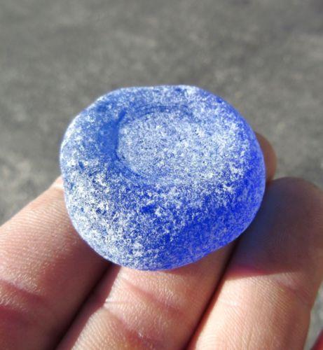 ELITE-ULTRA-RARE-XX-LARGE-SUPER-FROSTY-CERULIAN-BLUE-Sea-Glass-BOTTLE-BOTTOM