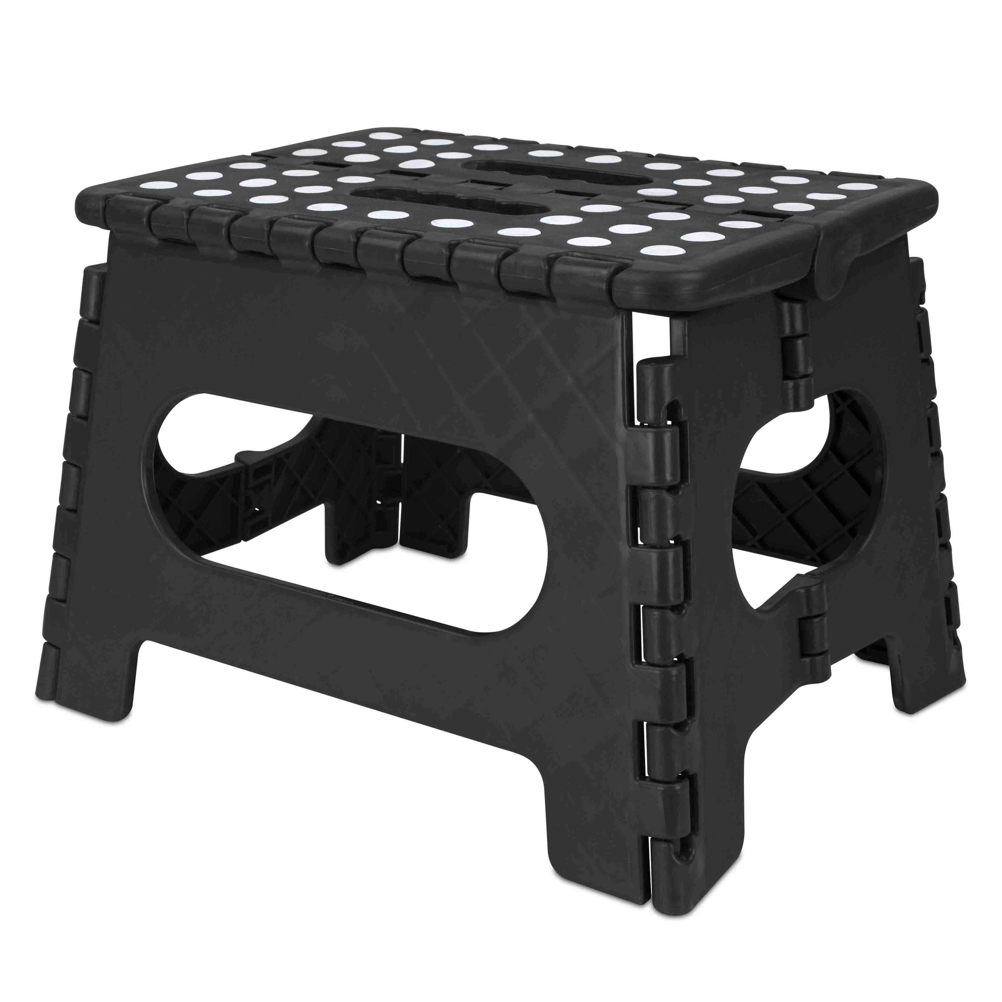 Miraculous Medium Foldable Plastic Stool With Non Slip Dots Black Andrewgaddart Wooden Chair Designs For Living Room Andrewgaddartcom