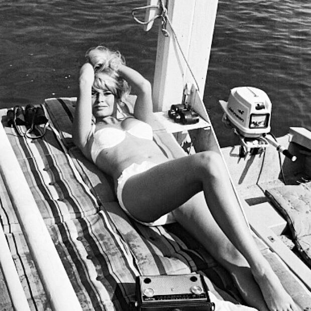 Brigitte Bardot during the filming of Vie Privée (A Very Private Affair), 1962.