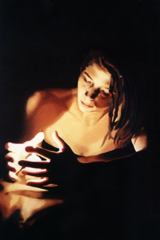 Oil on Canvas Self Portrait with Candle by Anna Gilhespy realistic traditional oil painting portrait. Visit www.annagilhespy.com for more