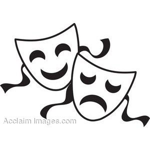 comedy and tragedy masks google search gala pinterest rh pinterest com theater mask clip art Theatre Faces Clip Art