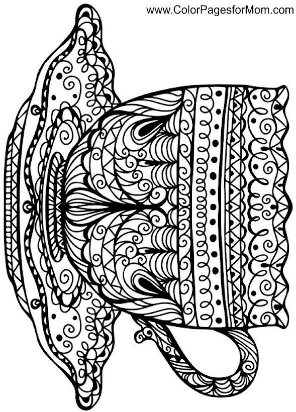 coffee cup coloring page Coloring pages, Adult coloring