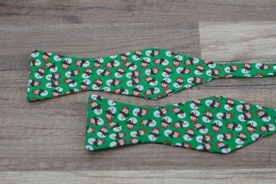 Handmade Christmas Green Snowman bow tie  self tie / by BOLDTies, $30.00
