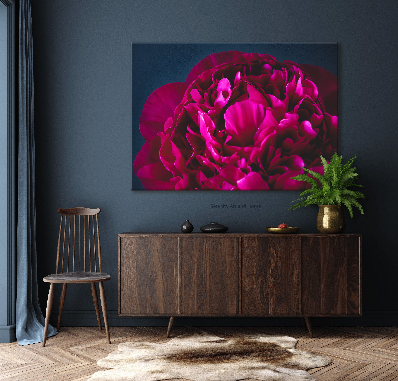 Dark Peony Wall Art Canvas Wall Art Jewel Tone Botanical Etsy Wall Canvas Wall Printables Canvas Wall Art