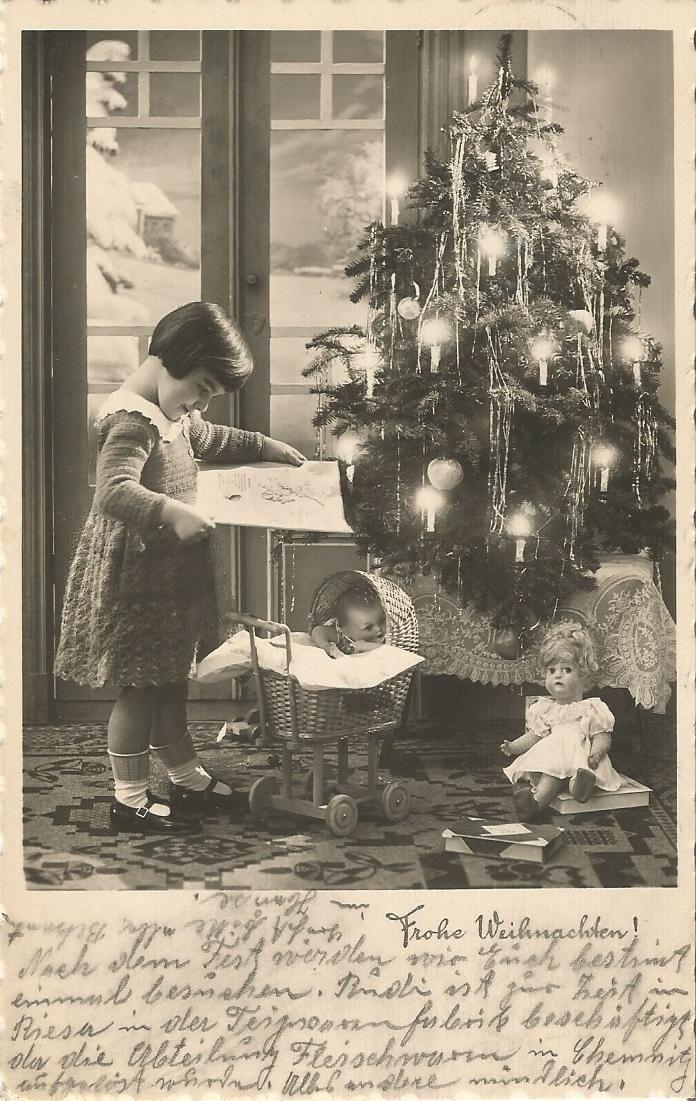 Kind mit Spielzeug, Puppe, Puppenwagen, Weihnachten, Glückwunschkarte von 1935 in Sammeln & Seltenes, Ansichtskarten, Motive, Spielzeug & Kinder | eBay
