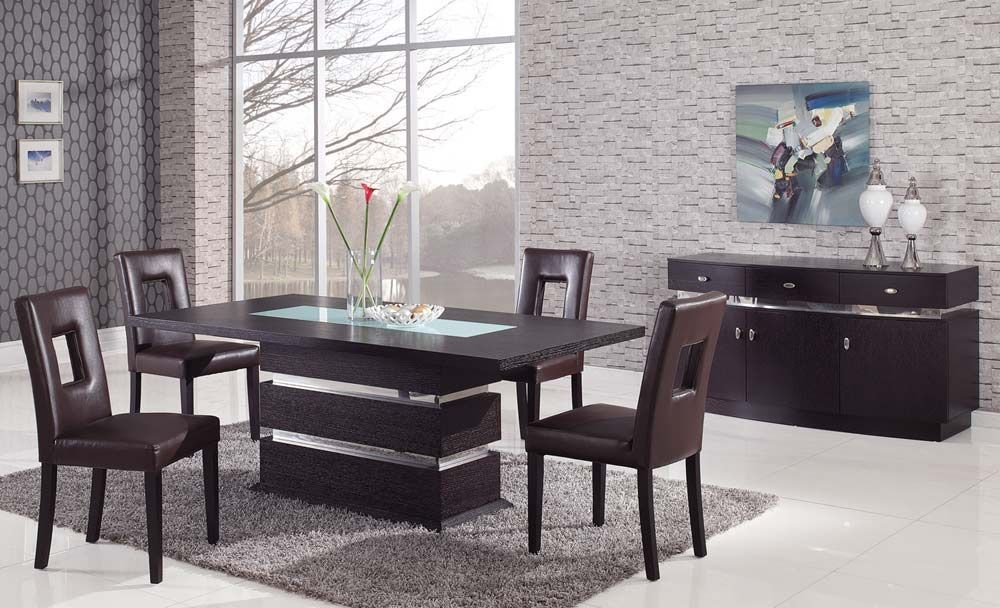 Sophisticated Rectangular Wood And Frosted Glass Top Leather Modern Dining Set Oceansid Contemporary Dining Room Sets Modern Dining Room Set Dining Sets Modern