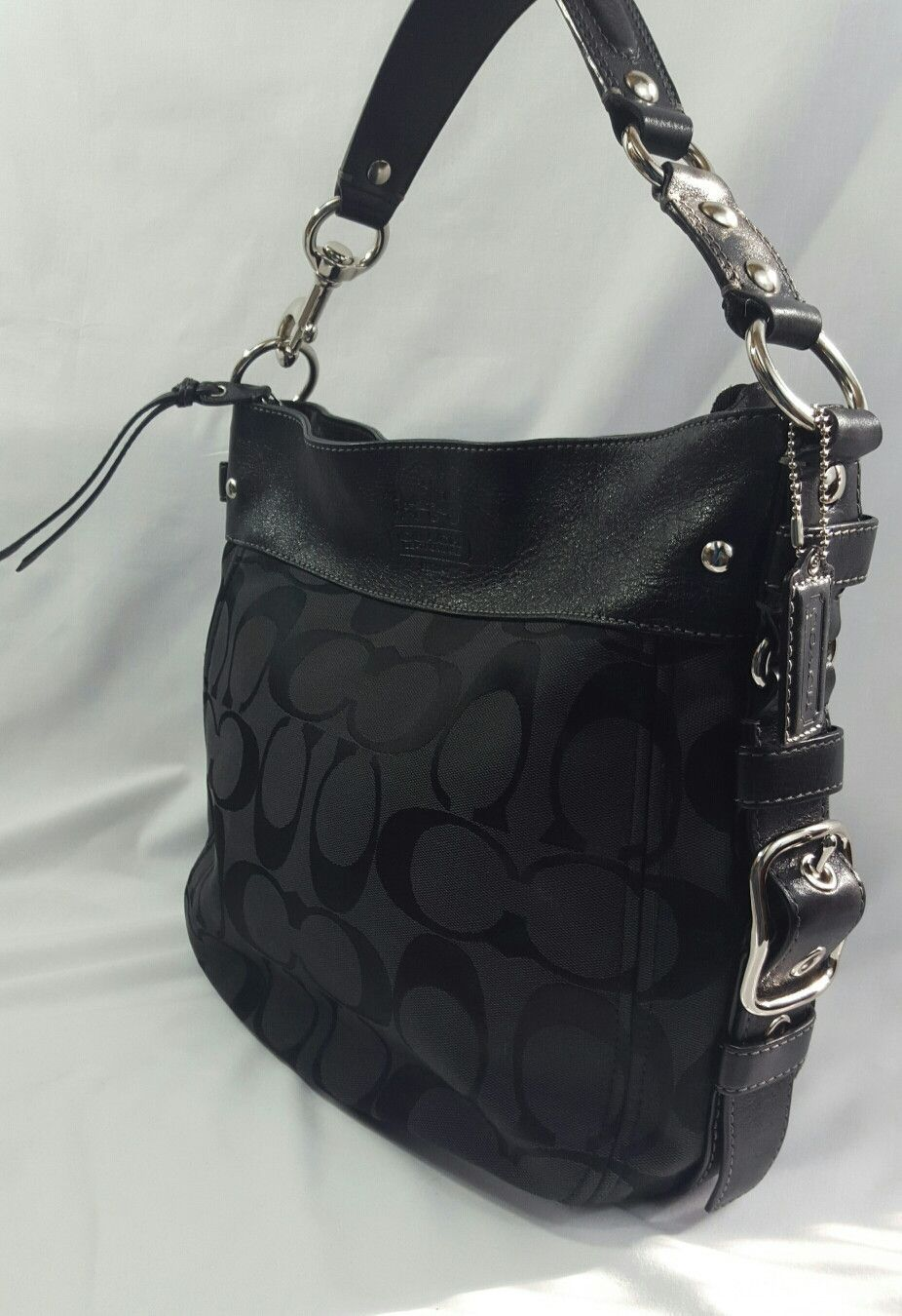 Coach Black Signature Hobo Shoulder Bag | Coach purses | Pinterest ...