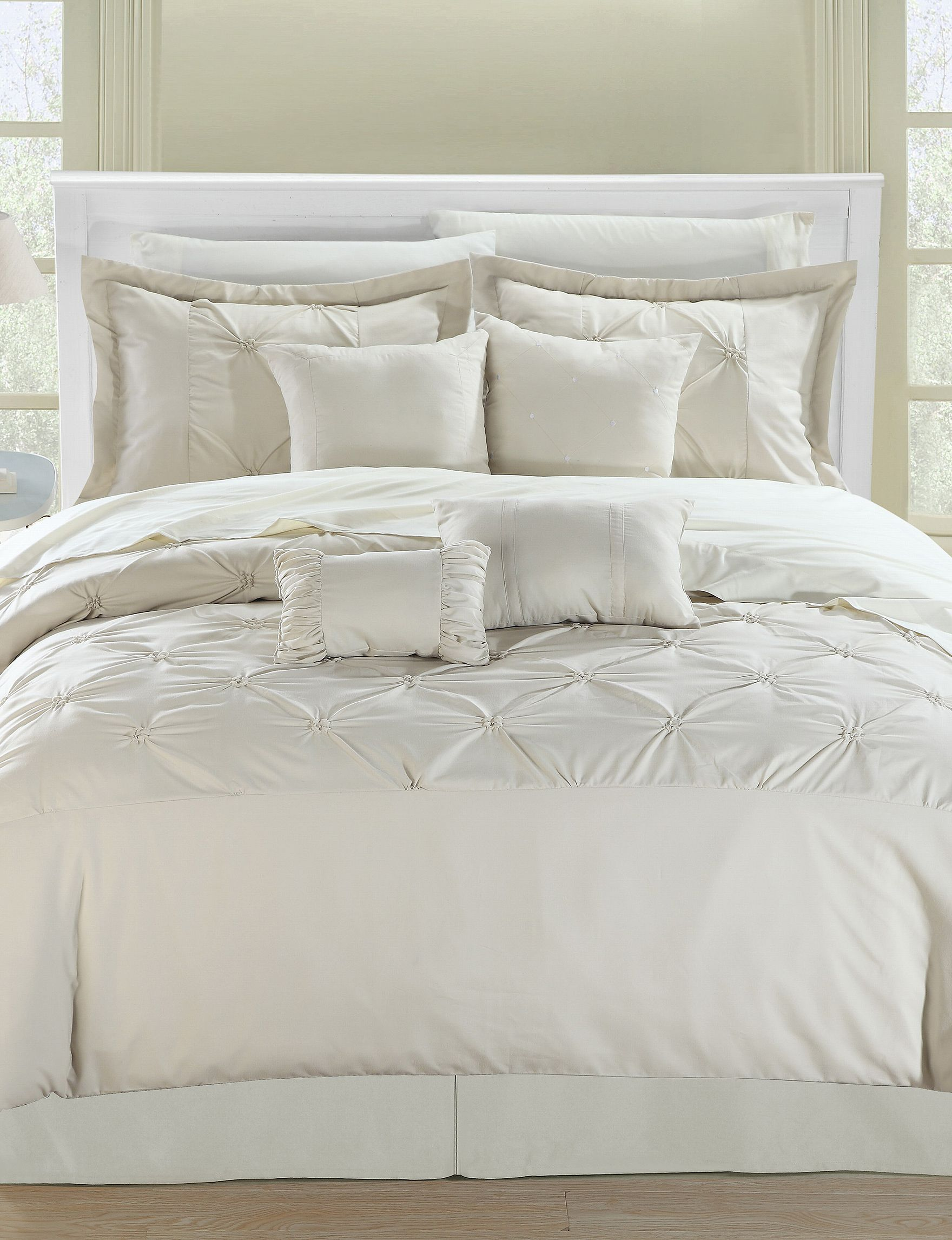 Chic Home Design 8-pc. Vermont Beige Brushed Microfiber Comforter ...
