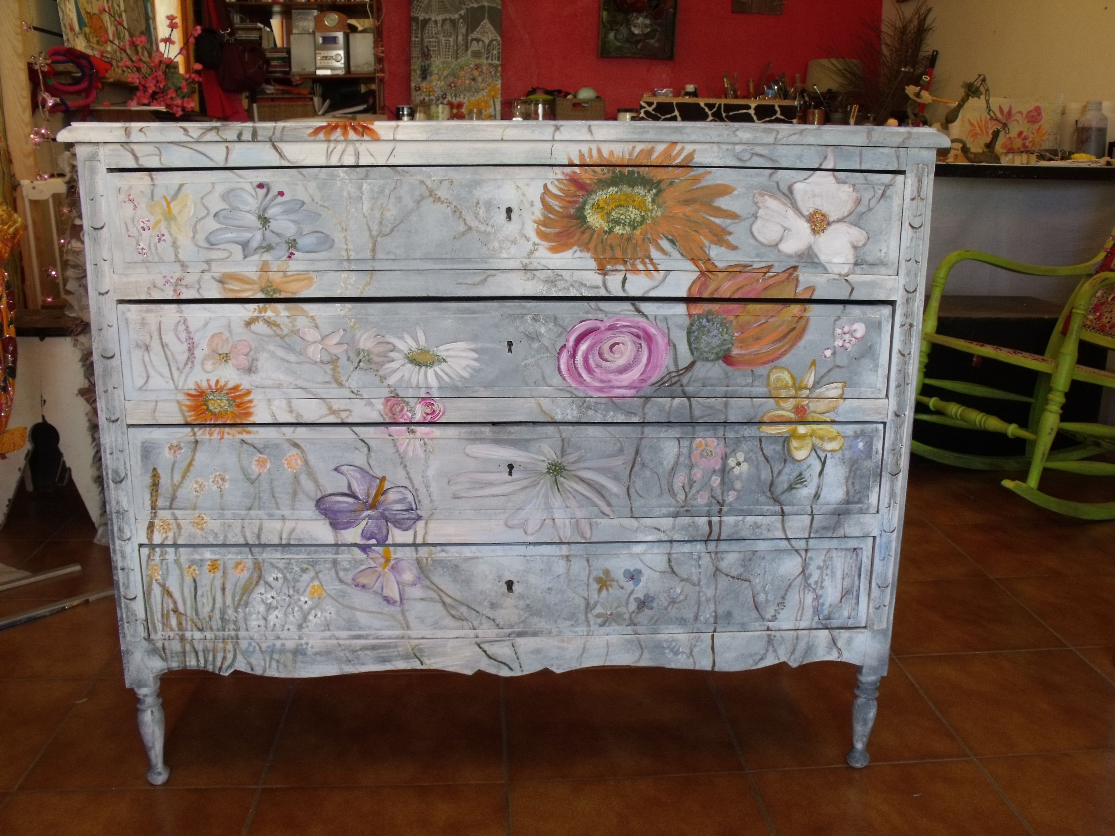 An Old Chest Of Drawers Painted With Flowers Furniture