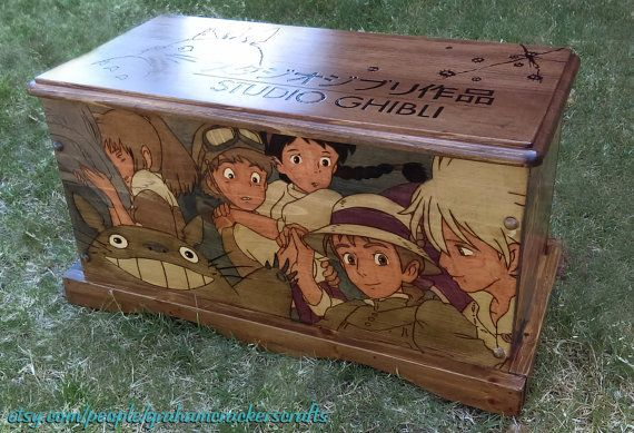 Studio Ghibli/ Hayao Miyazaki Themed Wooden Storage Trunk ( Hand Burned ) 23 x 11.75 x 12.5 (inches).