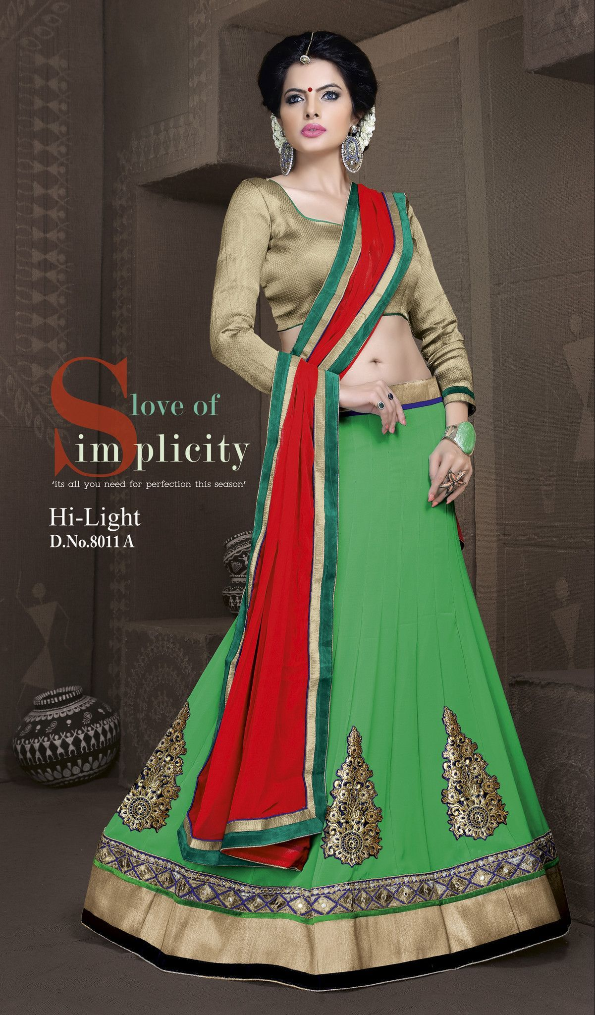 6f78d3b0ab Women's Georgette Fabric Lime Green Color Pretty Unstitched Lehenga Choli  With Lace Work Dupatta