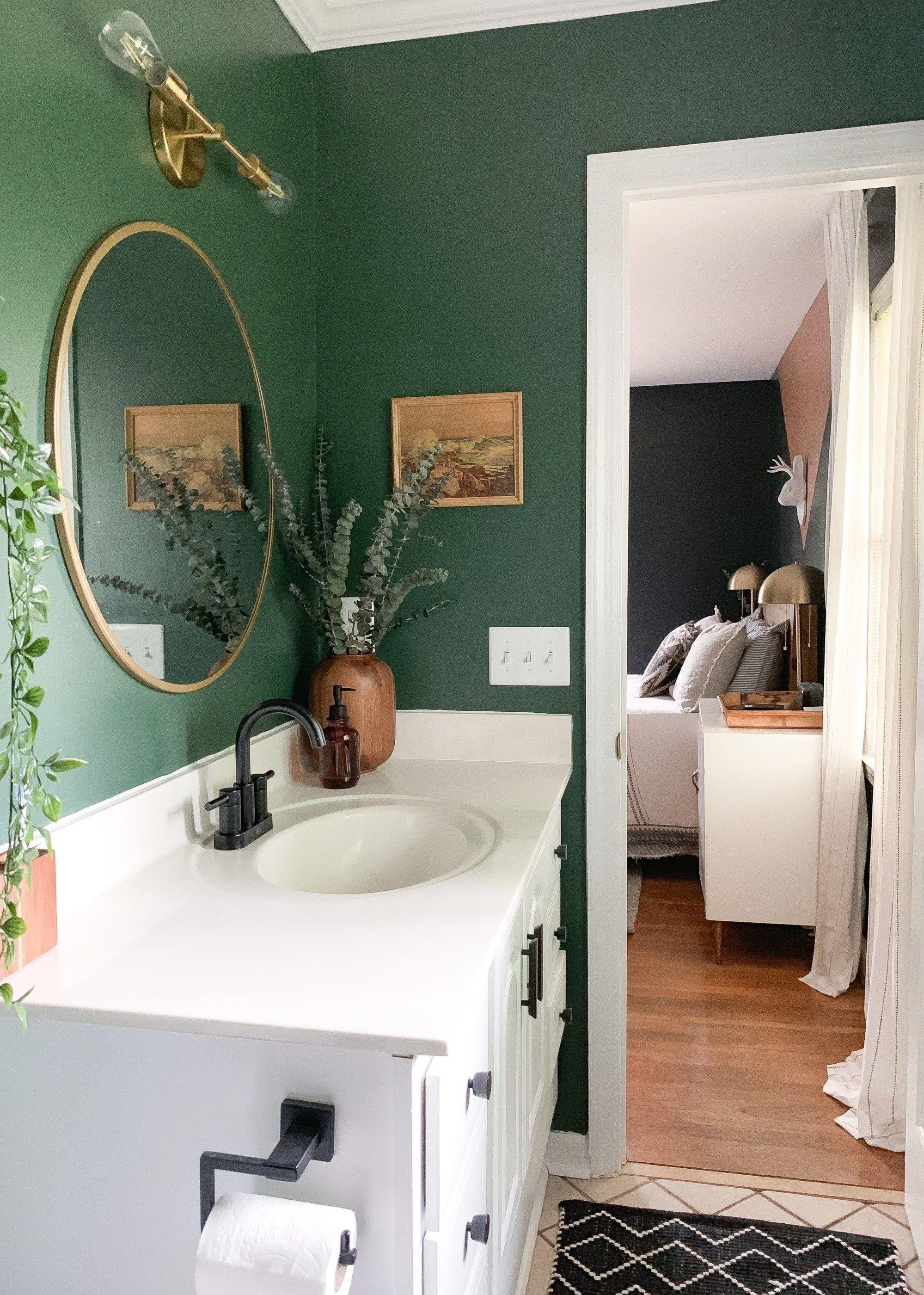 Thrift Score Thursday Recent Finds For Our House Green Bathroom Dark Green Bathrooms Small Bathroom Decor