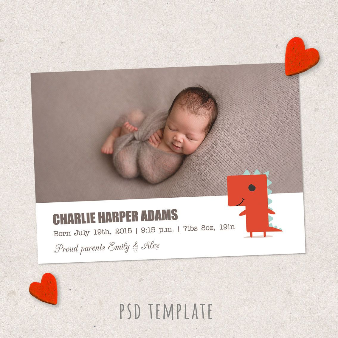 Birth Announcement Template Card Newborn Baby Girl  Baby Boy