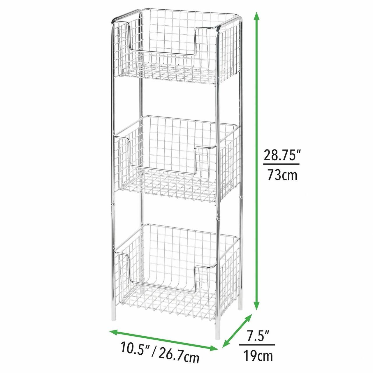 3 Tier Free Standing Kitchen Pantry Storage Shelf in Chrome, by mDesign
