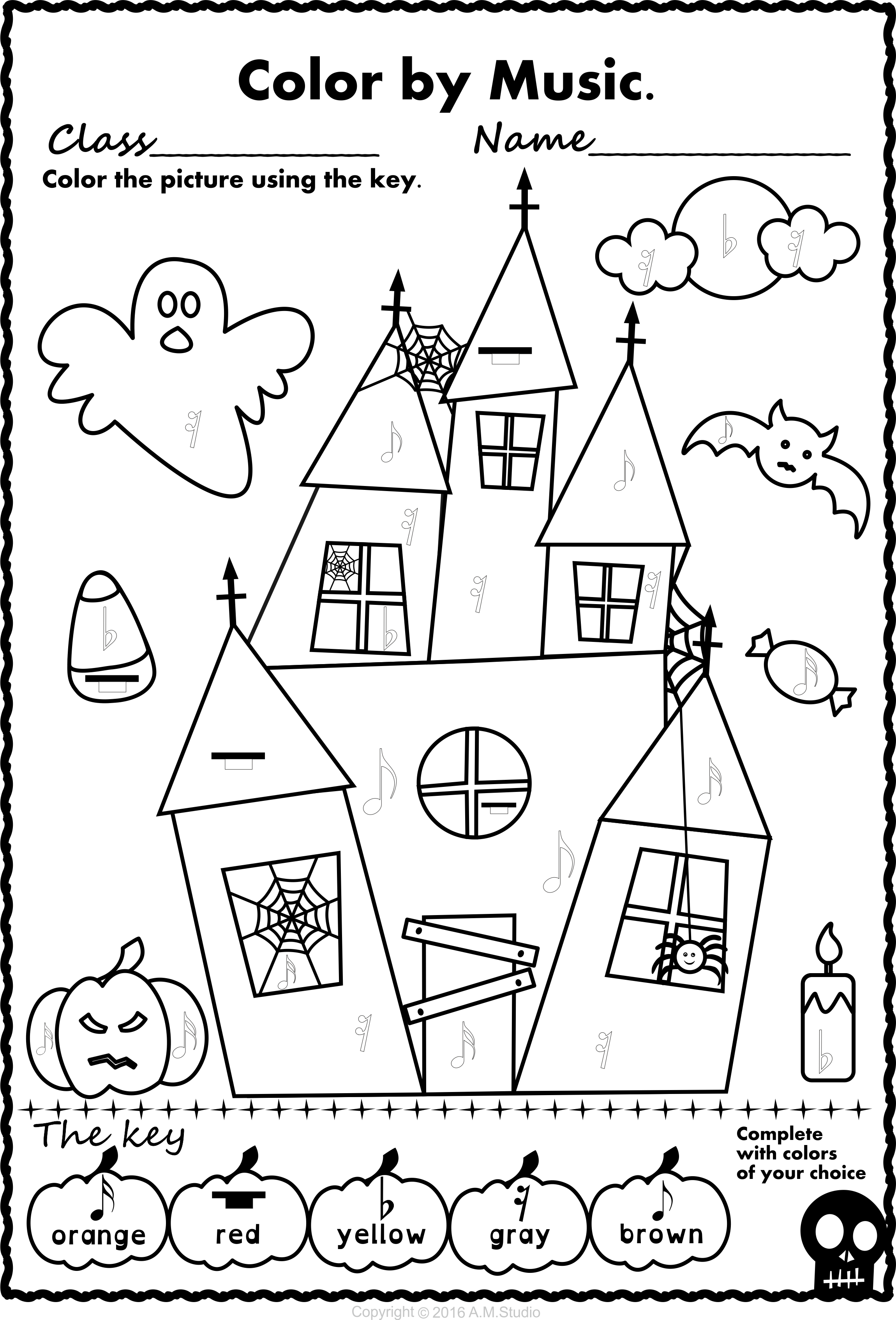 Simple And Fun Halloween Music Activity For Kids This Set Contains 13 Designs I Halloween Music Activities Halloween Coloring Pages Halloween Music Worksheets