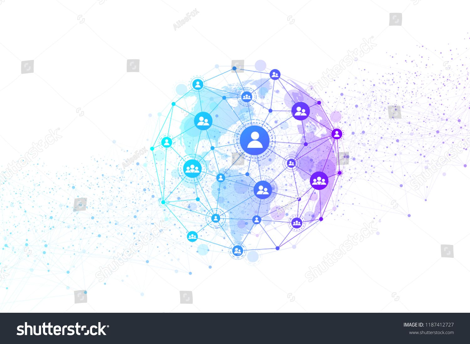 Global Structure Networking And Data Connection Concept Social Network Communication In The Global Co Vector Illustration Computer Network Internet Technology