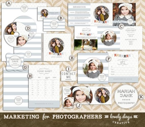 Pography Marketing Templates | Photography Marketing Set Template Kit Pre Made Logo Business Card